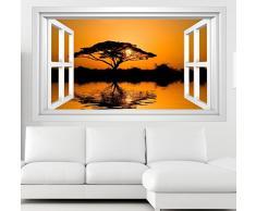 3D Wandmotiv Baum Afrika Wasser Sonnenuntergang Fenster Wandbild selbstklebend Wandtattoo Wand Aufkleber 11E309, Wandbild Größe E:ca. 168cmx98cm