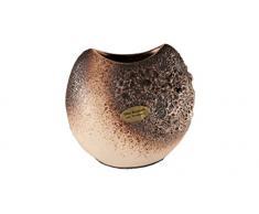 OTTO KERAMIK 2841 Krater Vase, 8 x 14 x 13 cm, weiß/braun