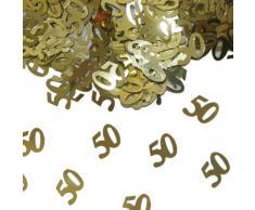 Goldenes Konfetti mit Geburtstagszahl: 50 // 1 Tüte mit 15g // Deko Tischdeko Jubiläum Zahlenkonfetti Gold Goldene Hochzeit