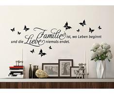 Grandora W5007 Wandtattoo Spruch Familie ist, wo Leben beginnt und... Wandaufkleber Wandsticker taupe (BxH) 150 x 51 cm