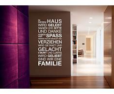 Wandtattoo-Günstig G015 Spruch In diesem Haus wird... Gelebt Geliebt Gelacht Familie Wandaufkleber Wandsticker dunkelgrau (BxH) 58 x 113 cm