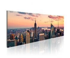 murando - Bilder New York 150x50 cm - Leinwandbilder - Fertig Aufgespannt - Vlies Leinwand - 1 Teilig - Wandbilder XXL - Kunstdrucke - Wandbild – Skyline NY City Stadt 9020119