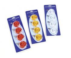 syntex Tischtuchbeschwerer Tischtuchbommeln Tischdeckenbeschwerer Tischdeckenhalter mit Klammern Blümchen orange gelb transparent (Transparent)