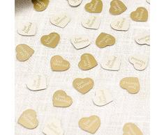 Neviti modernes Herz Konfetti, Papier, Elfenbein/Gold, One Size