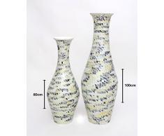 Große Bodenvase mit Glasmosaik 100 cm, Keramik, Braun Weiß
