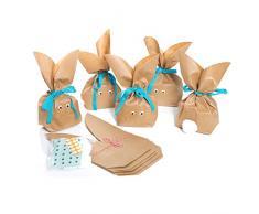 10 Stück braune natürlich lustige Osterhasen Hasen Papiertüten + blau türkis Baumwollband – Alternative zum Osternest f. Kinder + Erwachsene give-away Mitgebsel Verpackung Geschenke zu Ostern