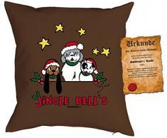 Kissen mit Füllung - Weihnachtsmotiv: Jingle Bells - Set mit Urkunde - By Gali - Farbe: braun - Geschenk - Weihnachten