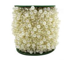 ICTRONIX 60m/Rolle Perlenkette Perlenschnur Perlengirlande Hochzeit Tischdeko Brautstraus Perlenband DIY Handwerk Elfenbein