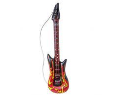 Widmann 04815 – aufblasbare Gitarre, 105cm, Flammenmotiv, Instrument, Rockstar, Hard Rocker, Death Metall, Motto Party, Karneval