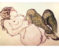 Geschenkset: 1 Poster Kunstdruck (80x60 cm) + 1 Mauspad (23x19 cm) - Egon Schiele, Akt Mit Grünen Strümpfen, 1918