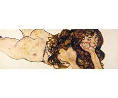 1art1 87032 Egon Schiele - Auf Dem Bauch Liegender Weiblicher Akt, 1917 Poster Leinwandbild Auf Keilrahmen 120 x 40 cm