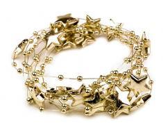 Schnoschi 10m Gold Sterne Perlenband Perlenkette Perlengirlande Perlenschnur Weihnachten Advent Deko Perlen Tischdeko Meterware