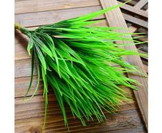 Kunstgras, 7 Zweige grünes Gras, künstliche Pflanzen für Kunststoffblumen, Deko für Zuhause, Geschäft, Schreibtisch, rustikale Pflanze