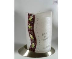 Hochzeitskerze modern Oval 19/13 cm, Silber -1296- mit Namen und Datum - Perlmutt-Struktur und Swarovski-Steine - Kerze zur Hochzeit - Brautkerze - Calla-Blumen