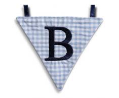 Hansekind Wimpel Wimpelkette mit Namen Buchstabe rosa od. blau Geschenk Taufe (B, Hellblau)