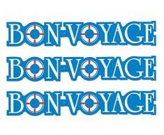 Beistle 54944 3 Stück Bon Voyage Luftschlangen, 15,2 x 94 cm blau/weiß/rot
