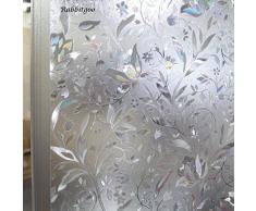 rabbitgoo Statische Fensterfolie als Glas-Sichtschutzfolie, Milchglas-Folie, selbstklebend, Fenster-Dekoration, dick, Blumenmuster mit Tulpen für Zuhause, Küche, Büro, 60 x 200 cm