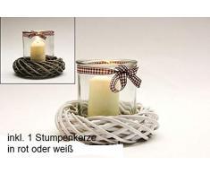 wuselwelt 61859 Windlicht mit Weidenkranz Kerzenglas Deko Tischdekoration 12x12cm mit Stumpenkerze (weiß)