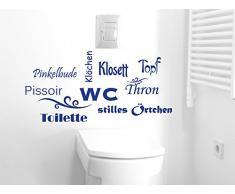 Graz Design 650160_40_070 Wandtattoo Deko für Bad Sprüche Wand Aufkleber für Badezimmer Toilette WC stilles Örtchen Dekoration 83x40cm Schwarz
