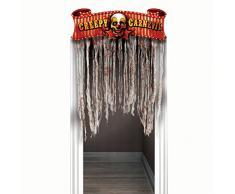 amscan International 240148 Türschmuck Creepy Carnival, gruseliges Motiv, Pappschild mit Gazestreifen, 96,5 x 137 cm