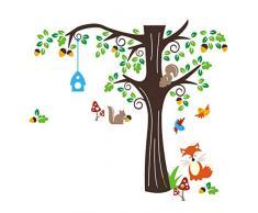 Grandora Wandtattoo Baum mit Fuchs Vögel Eichhörnchen I 128 x 115 cm (BxH) I Kinderzimmer Mädchen Deko für Babyzimmer Junge Aufkleber Wandaufkleber Wandsticker W5296