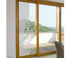Wandkings Milchglasfolie Blumenranke 199 x 74 cm (H x B) für Fenster, Glastüren, Duschen & mehr