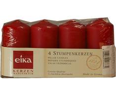 Eika Stumpenkerze, Paraffin Wax, Rot, 8X 4cm, 4Stück