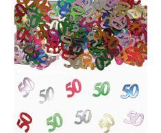 NET TOYS Farbenfrohes Tisch-Konfetti mit Zahl 50 - 14gr. - Glänzende Party-Tischdeko Streu-Dekoration Geburtstagskonfetti - Genau richtig für Geburtstage & Jubiläumsfeier
