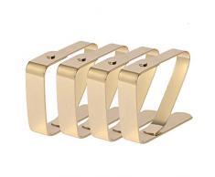 HUAFA Tischdeckenklammer (4er Set),Hohe Qualität Verkupferung Tischdeckenklammern,Tischtuchklammer Tischtuch Clips (3cm, Gold)