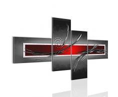 Bilder Abstrakt Wandbild 150 x 60 cm Vlies - Leinwand Bild XXL Format Wandbilder Wohnzimmer Wohnung Deko Kunstdrucke Rot Grau 4 Teilig - MADE IN GERMANY - Fertig zum Aufhängen 102545a