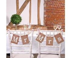Girlanden Set Mr & Mrs Deko Stühle Hochzeit Dekoration Brautpaar