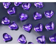 30 Dekosteine Herzen lila purple 2,1 cm Streudeko Tischdekoration Hochzeit Taufe Weihnachten