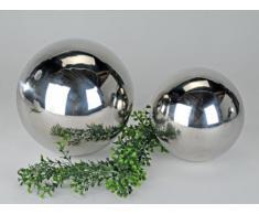 Trendige Dekokugel aus glänzendem Edelstahl Durchmesser 12cm