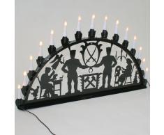 Schwibbogen Lichterbogen Metall - Motiv: Schwarzenberg - XL 1 Meter Breite Außen-Bereich schwarz glänzend * groß * Erzgebirge Bergmann Bergmänner
