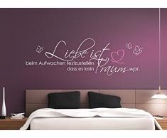 Grandora W800 Wandtattoo Zitat Liebe ist... Schmetterlinge Herz I schwarz 120 x 38 cm I Wandaufkleber Schlafzimmer Aufkleber Wandsticker