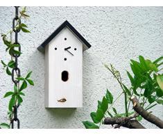 Moderne Kuckucksuhr, Nistkastenuhr h48-ws, für den Gartenrotschwanz, nicht den Kuckuck