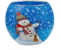 Himmlische Düfte Geschenkartikel CC21 Schneemann Windlicht Glas 11 x 11 x 9 cm, bunt