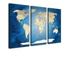 """LanaKK - Weltkarte Leinwandbild mit Korkrückwand zum pinnen der Reiseziele – """"Worldmap Blue Ocean """" - englisch - Kunstdruck-Pinnwand in blau, dreiteilig & fertig gerahmt in 150 x 100 cm"""