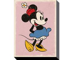 1art1 78795 Minni Maus - Retro Poster Leinwandbild Auf Keilrahmen 50 x 40 cm