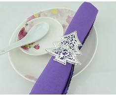 Yalulu 12 Stück Handgemachte Hohl Silber Serviettenringe Serviette Halter Weihnachten Wedding Banquet Dinner Dekor