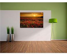 Leinwandbild 80x60cm/100x40cm/120x50 cm/120x80cm Panorama Landschaftsbild Mohnblumen beim blühen, Mohnfeld bei Sonnenuntergang in tollen warmen Farben! Wolken am Himmel! Ein Leinwandbild für jede Wand!