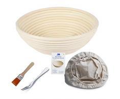 Gärkörbchen rund, ø 22 cm, Höhe 8.5 cm Banneton Proof Korb für Brot und Teig [inkl. Pinsel] Proof Rising Rattan Schale + Gratis Liner + Gratis Brot Gabel