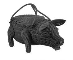 Saleen 2018119101 Dekokorb Schwein Piggy, schwarz