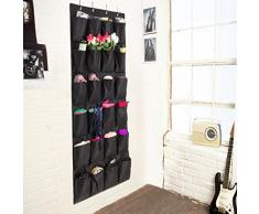 Colleer® praktische Ordnungssysteme an der Tür mit 24 Taschen/Türregal, Hängeorganizer, Hängeaufbewahrung, Schuhschränke, Multifunktionale Aufbewahrungstasche (Schwarz)