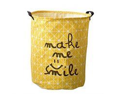 YOUJIA Stoff Wäschebehälter für Schmutzwäsche Klappbare Wäschekorb Wäschesammler Wäschebox Rund Wäschetonne Kleidung Spielzeug Aufbewahrung Korb Gelb