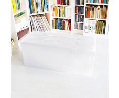 Relaxdays Faltbare Sitzbank Gr. L aus Kunstleder H x B x T 38 x 78 x 38 cm stabiler Sitzcube mit praktischer Fußablage als Sitzwürfel als Aufbewahrungsbox mit Stauraum und Deckel zum Abnehmen, weiß