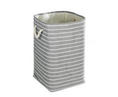 WENKO 35520100 Wäschesammler Maritim eckig - Wäschekorb, Fassungsvermögen 70 L, Papierstoff, 35 x 60 x 35 cm, Grau