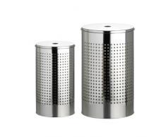 axentia Wäschentonnenset, bestehend aus zwei verschiedenen Wäschebehältern, mit schwarzem Kunststoffboden gegen Verkratzungen, mit moderner Lochmusterung, Wäschetonne aus hochwertigem, robustem Edelstahl, das Volumen der Tonnen