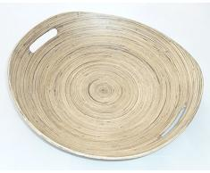 Bambusschale mit Handgriffen, 40x37x11cm in Grau. Geeignet für Obst, Snacks oder als Unterschale. Lebensmittelecht, Handarbeit (018LGrau, 40 x 37 x 11cm)