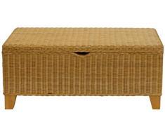 korb.outlet Sehr stabile Bett-Truhe/Wäschetruhe auf Holzrahmen, Sitzbank aus Natur-Rattan in der Farbe Honig (80)